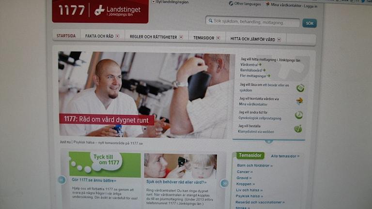Webbsidan med hänvisning till 1177. Foto: Maria Rymell/Sveriges Radio