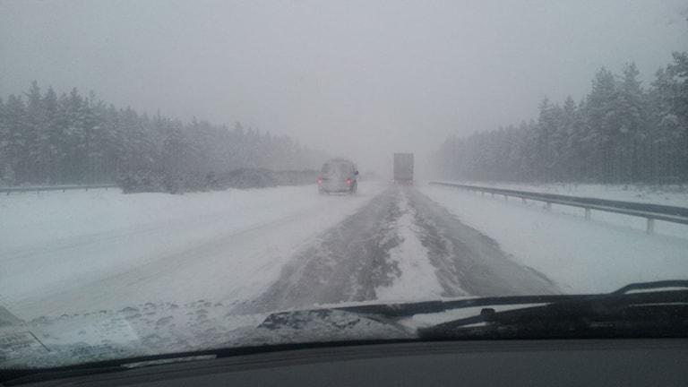 Snöoväder. Foto: Karin Malmsten/Sveriges Radio.
