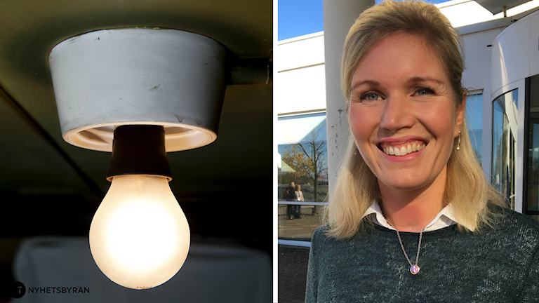 En delad bild på en lysande glödlampa och Maria Cannerborg.
