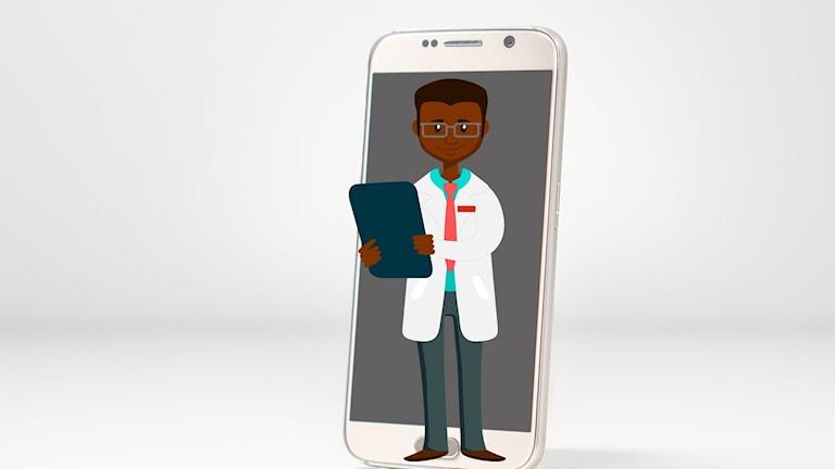 Läkare i mobil, skiss.