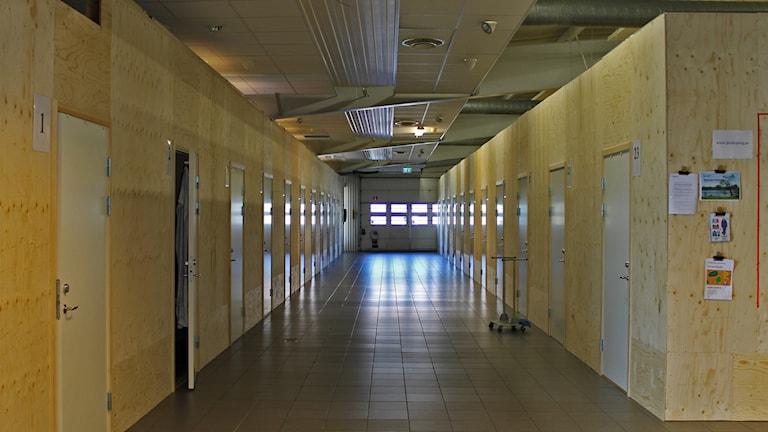 Korridor med dörrar som går in till träbås.