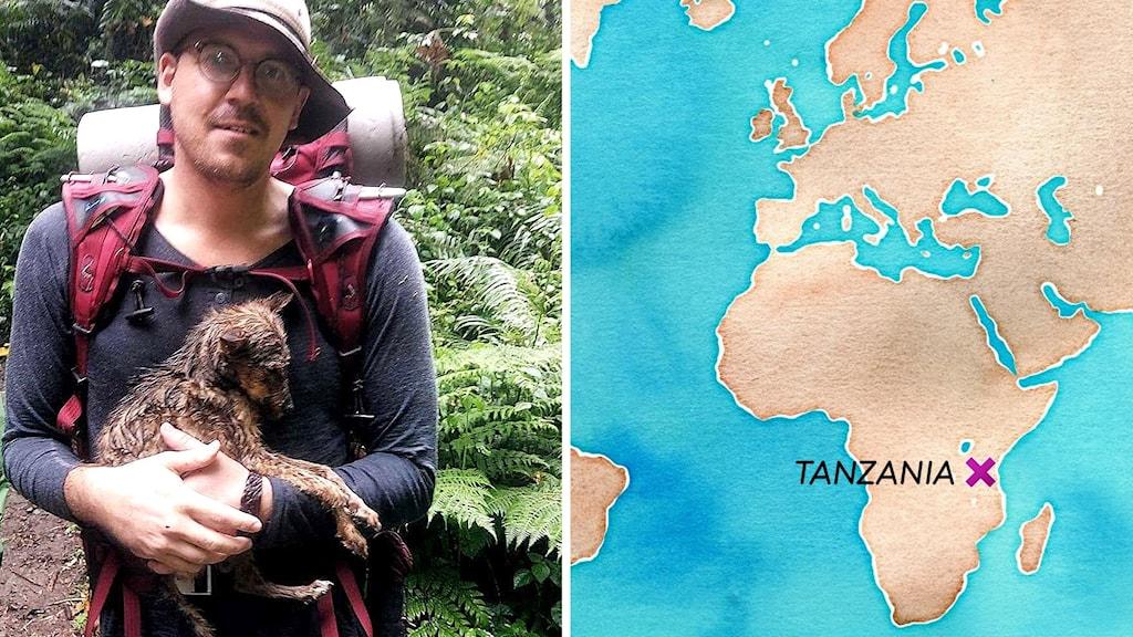 Johan håller en hund i famnen i djungeln. En karta över Afrika med Tanzania utmärkt.