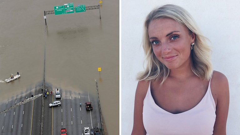 Montage med bild på översvämmad väg och en bild på Tilda Green.