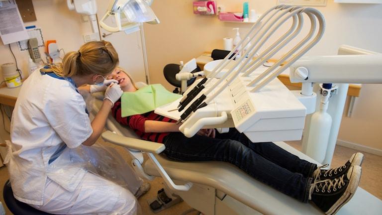 En tandläkare undersöker ett barns tänder.