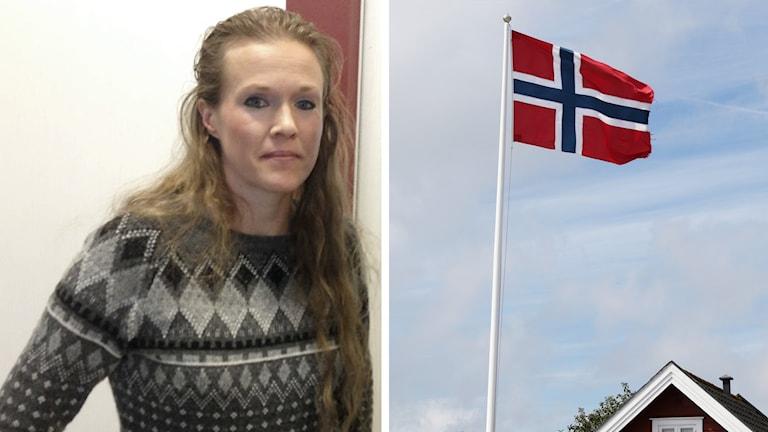 En bild på Ellinor Grimmark och en bild på en norsk flagga.