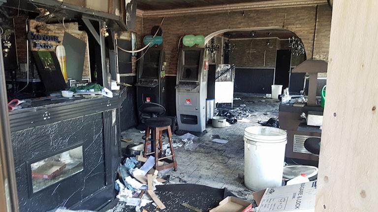 Brandskadad pizzeria i Tranås.