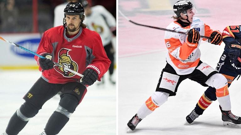 Två hockeyspelare på isen.