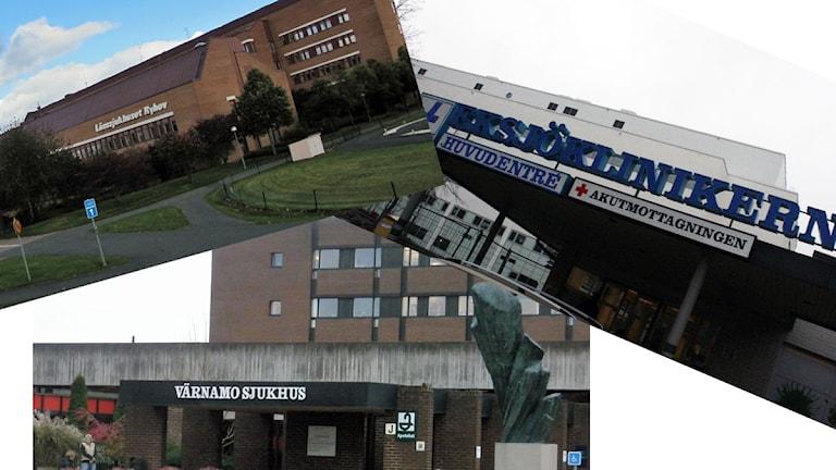 Ryhov, Höglandssjukhuset och Värnamo sjukhus. Arkivbilder/Sveriges Radio