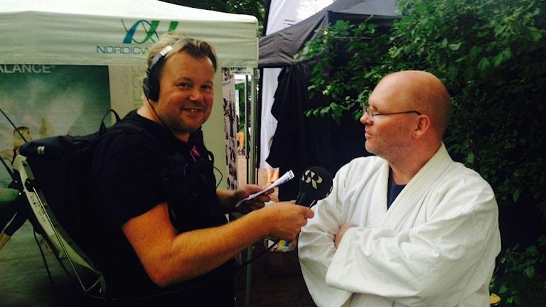 Calle Wisborg och Torbjörn Gustafsson från Jiu jutsu Samuraj Jönköping. Foto: Sveriges Radio