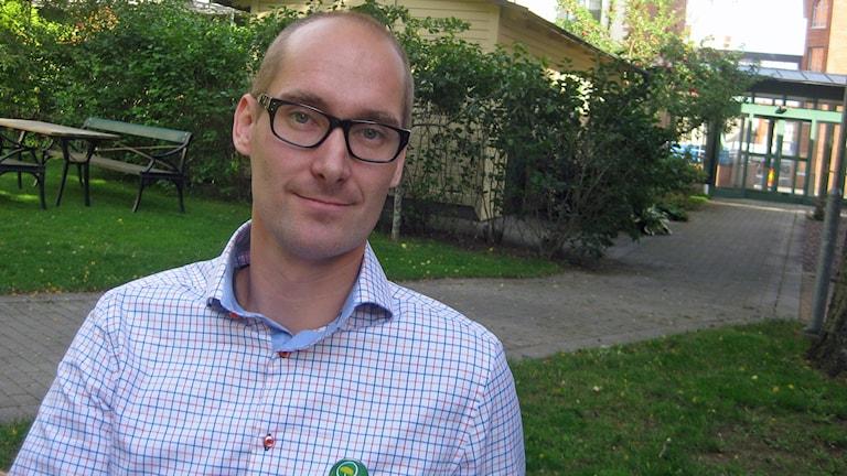 David Jersenius, Miljöpartiet i Jönköping. Reporter Peter Jernberg/Sveriges Radio