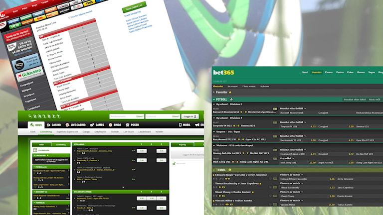 Live-betting. Foton: Skärmdumpar samt David Westh/Sveriges Radio