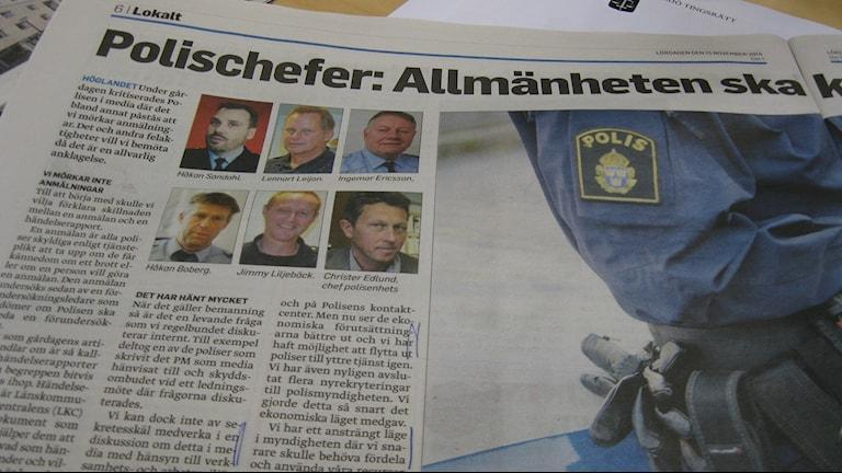 Bild på debattartikeln där polisen svarar på kritiken. Foto: Maria Rymell/Sveriges Radio