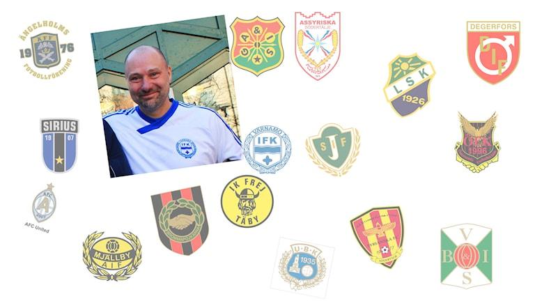 Ola Winsth är med i Värnamos supporterklubb. Foto/arkivbild/kollage: Elin Ericsson/David Westh/SR