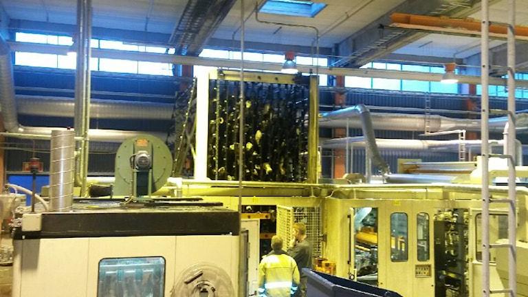 Ii den här maskinen startade branden vid pappersfabriken i Pauliström. Foto: Räddningstjänsten