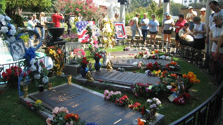 Varje dag läggs blommor på Elvis grav på Graceland. Arkivfoto: Karin Malmsten/Sveriges Radio.