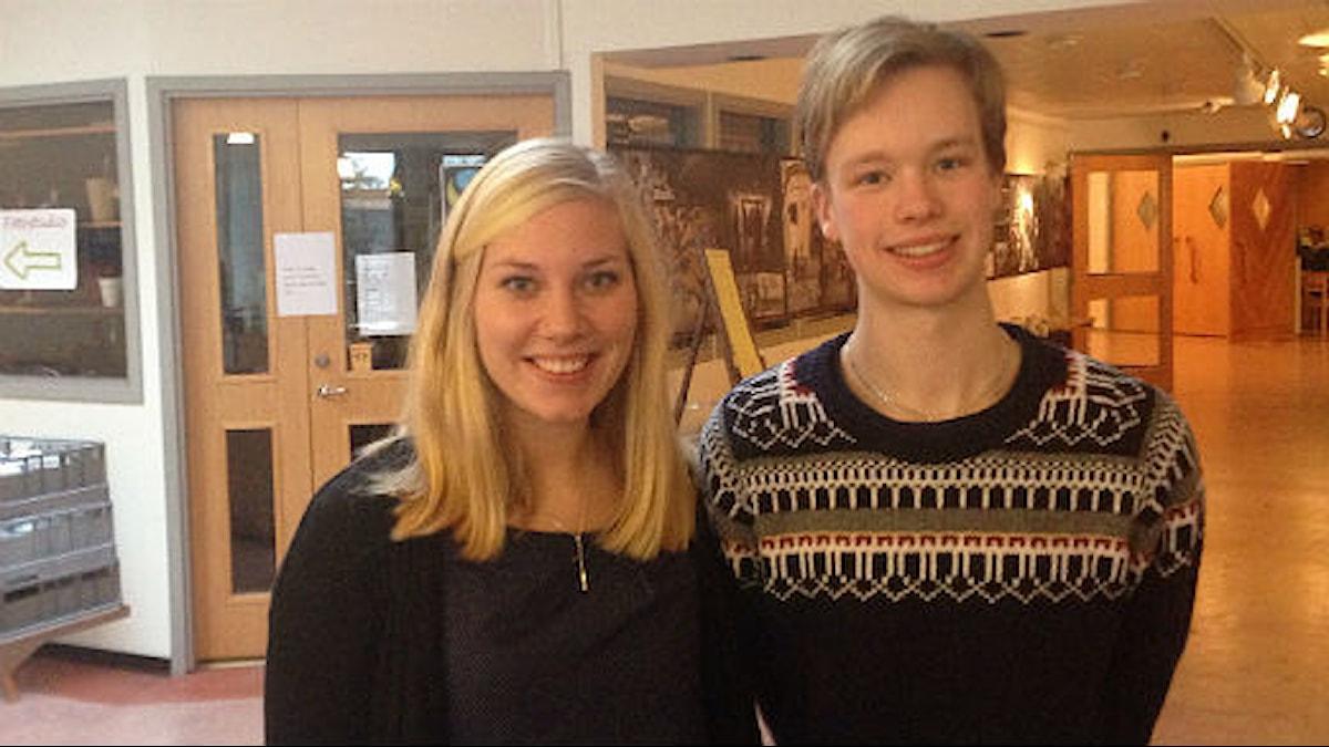 Åsa Johnsson och Victor Blomstrand studerande på Mullsjö folkhögskola. Foto: Lisa Lysell/Sveriges Radio