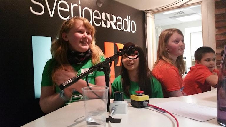 Adelövs friskola från Tranås kommun vann den tredje kvartsfinalen. Foto: Therese Edin/Sveriges Radio.
