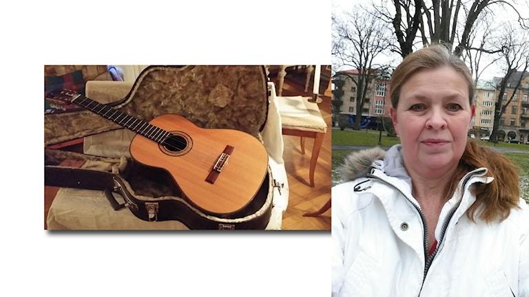 Liselotte Edvardsson med en gitarr. Foton: Privata.