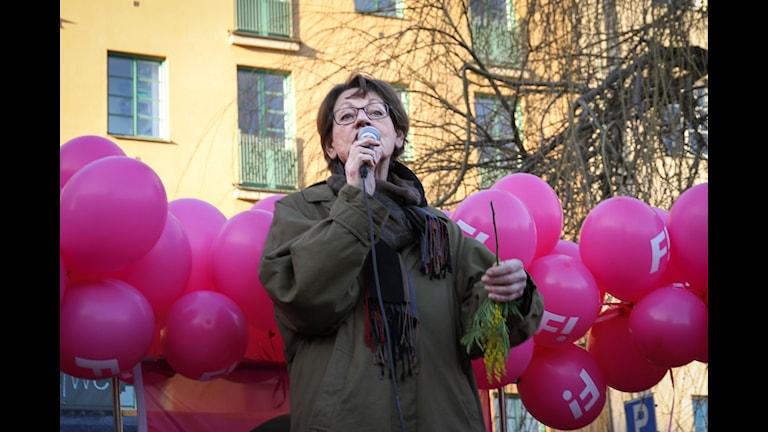 Gudrun Schyman wek seroka partiyê di dawiya hefteyê de li kongreya Örebro hat hilbijartin. Wêne: Wêneyê çapemeniyê