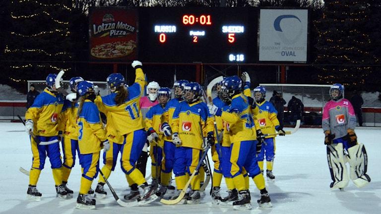 Sverige vann guld i F17-VM i USA. Foto: Erik Jonsson/Svenska Bandyförbundet.