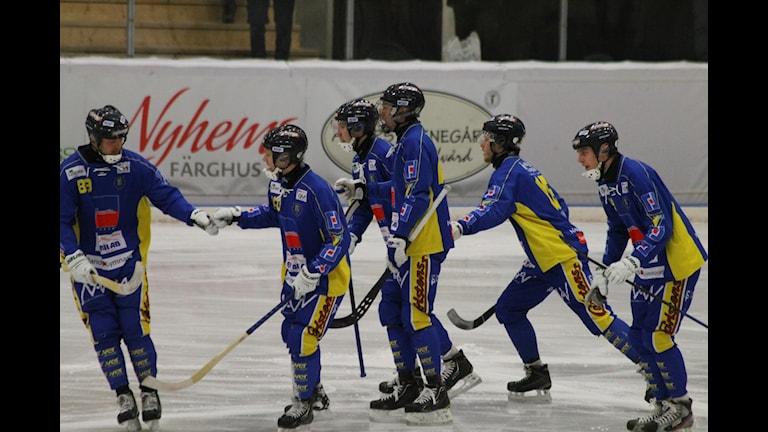 Nässjöspelarna var glada över kvalsegern. Foto:Tommy Haag P4 Jönköping