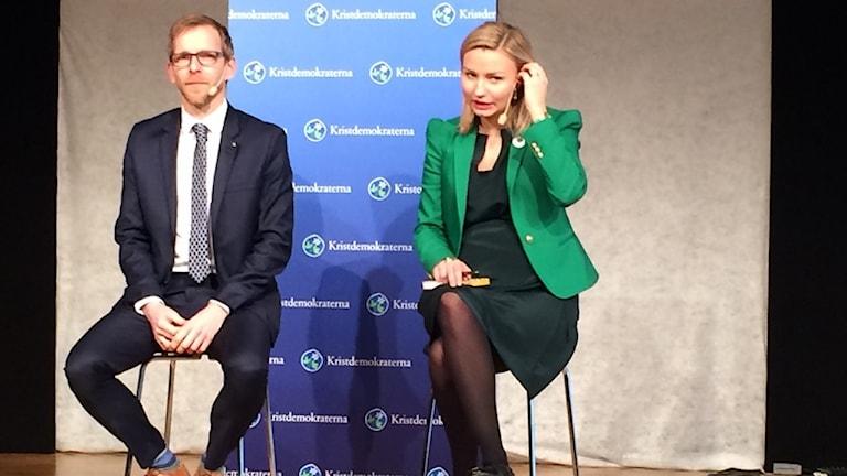 Jakob Forssmed och Ebba Busch Thor blev utfrågade av partikamraterna i Huskvarna. Foto: Oskar Mattisson/Sveriges Radio