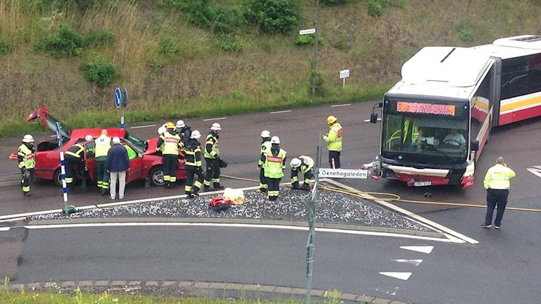 Trafikolycka på Öxnehagaleden i Huskvarna. Foto: Jimmy Wigell