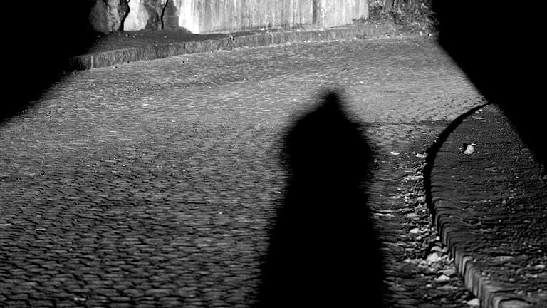 Skugga av en man. Foto: Hasse Holmberg/TT.