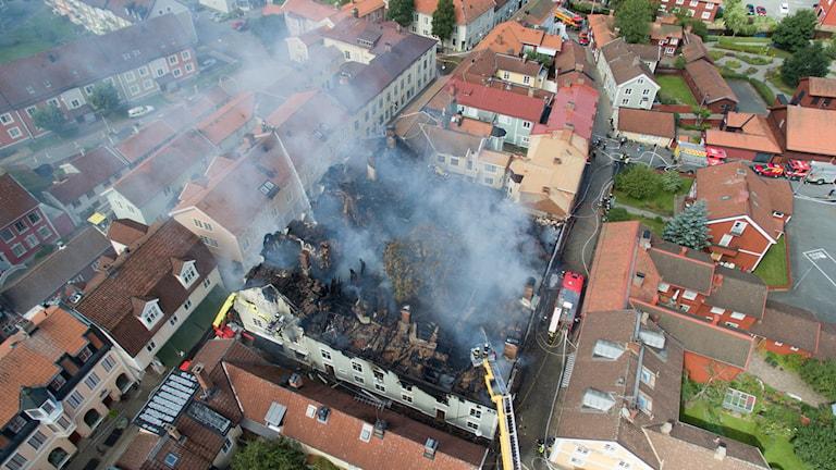 Storbranden i Eksjö från ovan
