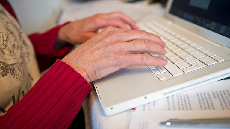 Äldre kvinna vid dator. Arkivbild, foto: Fredrik Sandberg/TT
