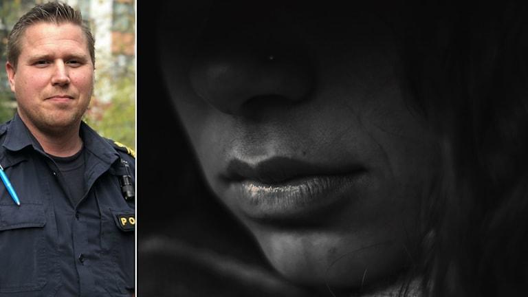 Marcus Anefur som är polis, inklippt i bild med  anonym kvinna.
