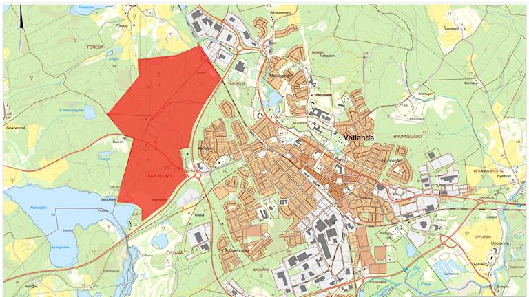 Karta över det område som ska bli Hubvilles egen stadsdel i Vetlanda