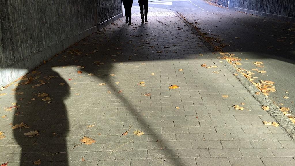Skugga i tunnel. Foto: Sveriges Radio