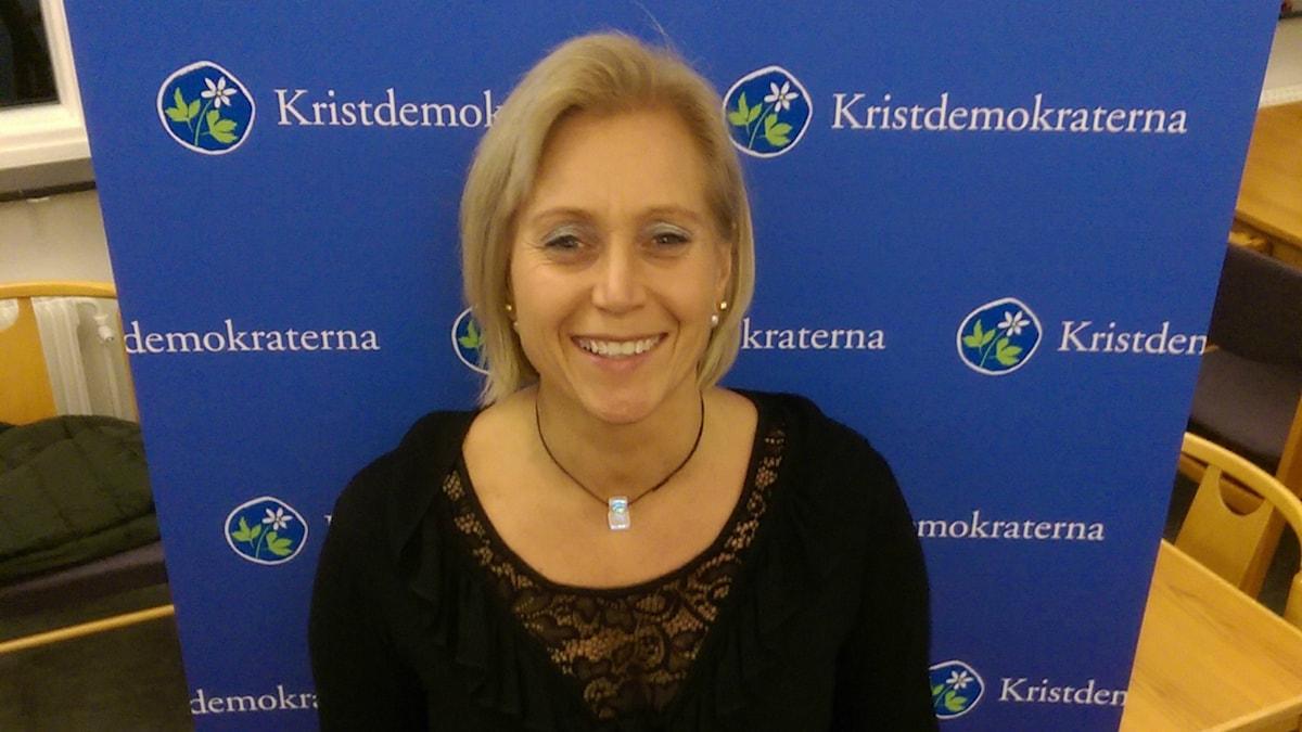 Camilla Rinaldo Miller, Alliansens kommunfullmäktigeordförandekandidat i Värnamo. Foto: Pressbild.