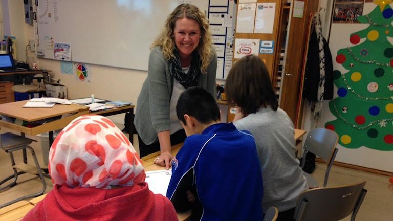 Linda Hensvik är lärare på Runnerydsskolan i Nässjö där uppemot 70 procent av eleverna har invandrarbakgrund. Foto: Anna Cassel/Sveriges Radio