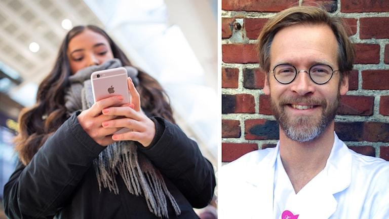 En tjej med tittar ner i sin telefon och en bild på Henrik Widegren i läkarrock.