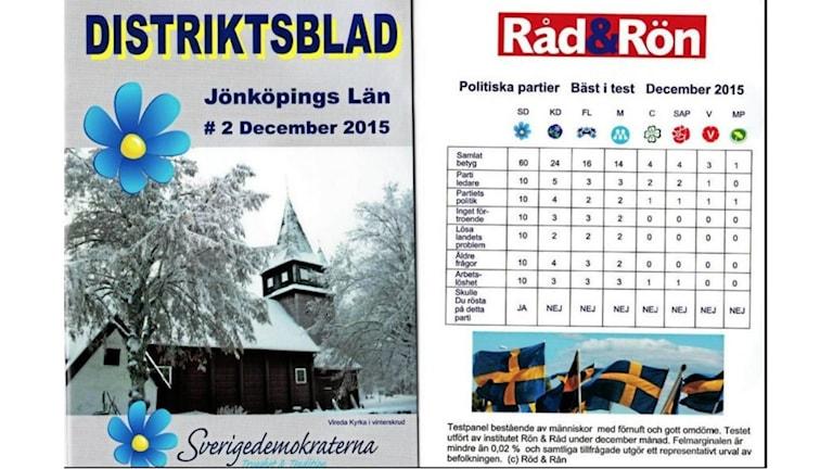 Sverigedemokraterna använde konsumenttidningen Råd och Röns logotyp. Foto: Skärmdump