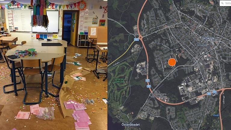 Bild från Tomaslundsskolan. Foto: Privat, karta från Cartodb.