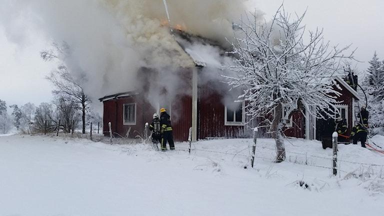 Brand Fagerhult Lekeryd. Foto: Therese Edin/Sveriges Radio