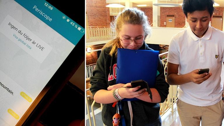 Appen Periscope förbjuds på Junedalsskolan. Elever blir kränkta när de filmas live. Foto: Tommy Alexandersson/Sveriges Radio