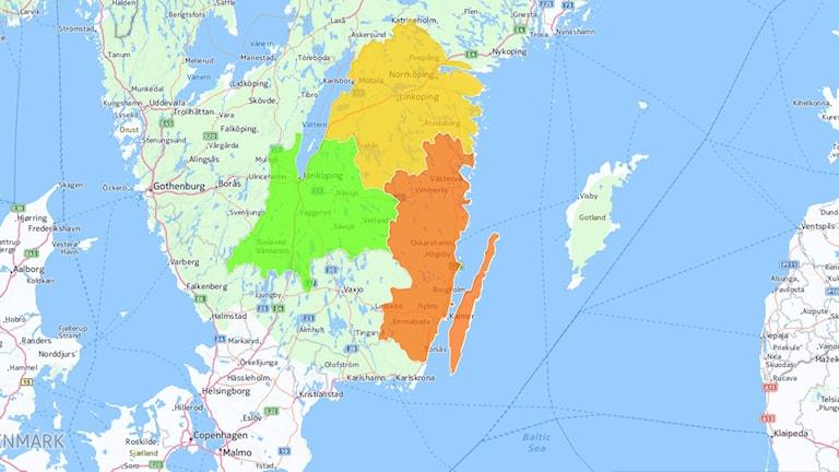 Förslag på ny region Jönköpings län, Östergötland, Kalmar län. Karta: Cartodb