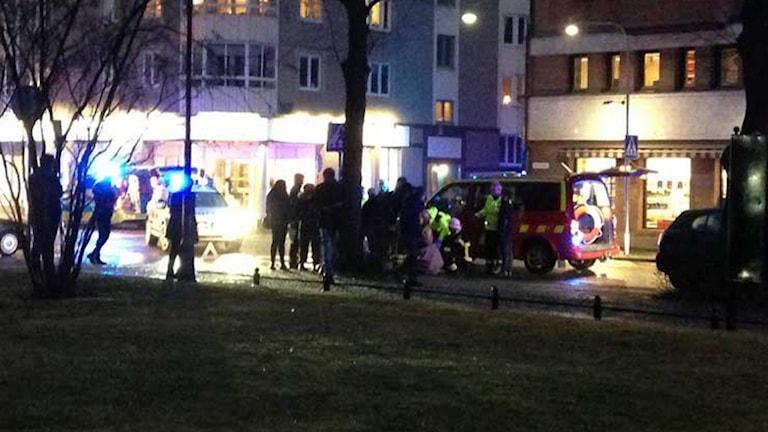 Olycka på Klostergatan i centrala Jönköping. Foto: Josefine Koca/Sveriges Radio