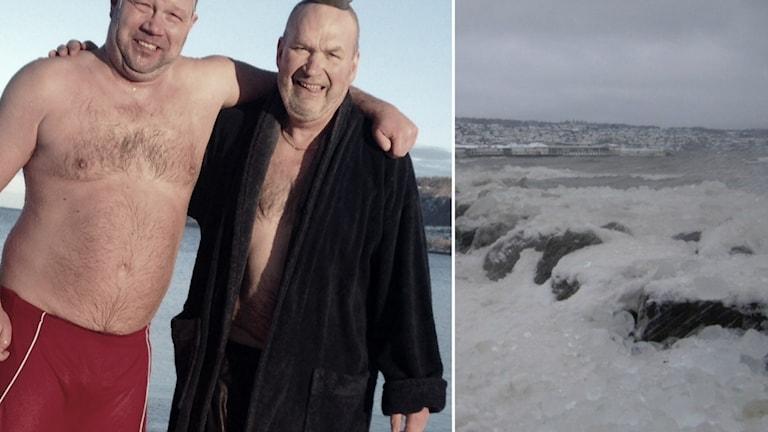 En motion om ett kallbadhus har lämnats in till kommunfullmäktiga. Anders och Anders är två som gillar att bada på vintern, bilden är från deras nyårsdopp 2014: Foto: Temabild/Sveriges Radio