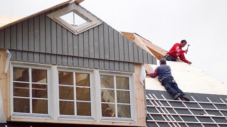 Hus under uppbyggnad.