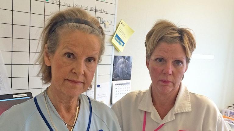 Marjo Malmgren tillsammans med undersköterskan Heléne