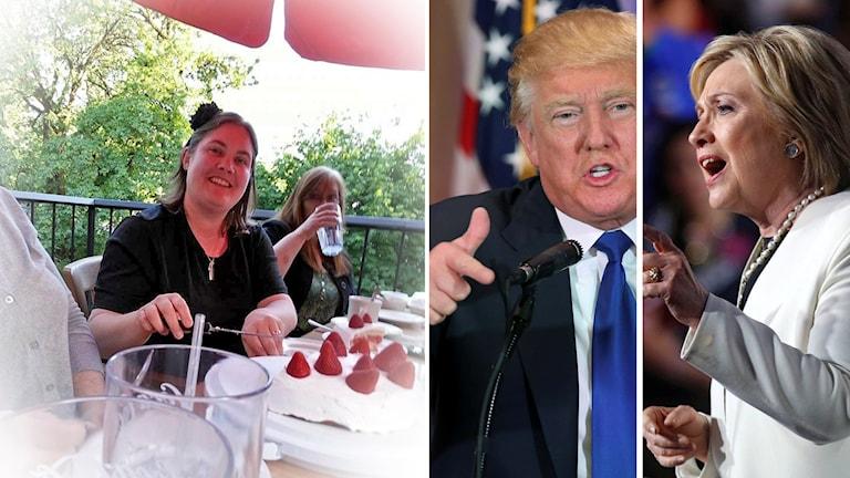 Johanna Rindefjäll, Donald Trump och Hillary Clinton.
