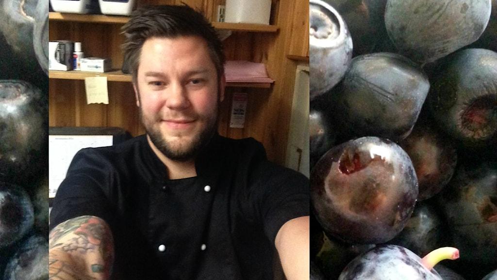 Kocken Magnus Staaf och blåbär.