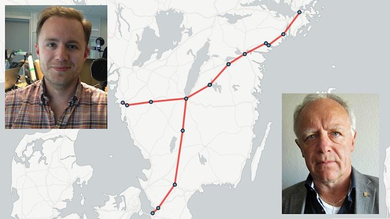 Viktor Barth-Kron och Anders Wilander framför kartan över höghastighetsjärnvägen