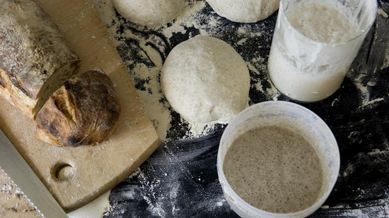 En färdigbakad surdegslimpa ligger bredvid surdegssmet på ett mjölat bakbord.