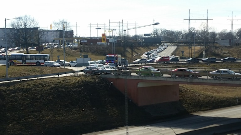 Traffic jams and accidents on the E4 as the auto show opens, Photo: Therese Edin/Sveriges Radio